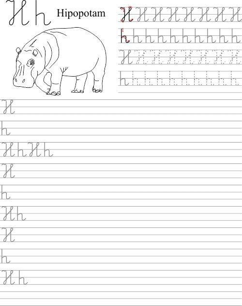 Szablon z nauką pisania litery H h