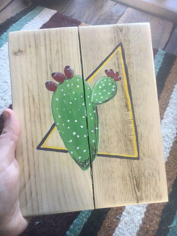 Pintura rústica pequeña de un cactus con por RusticSplinters