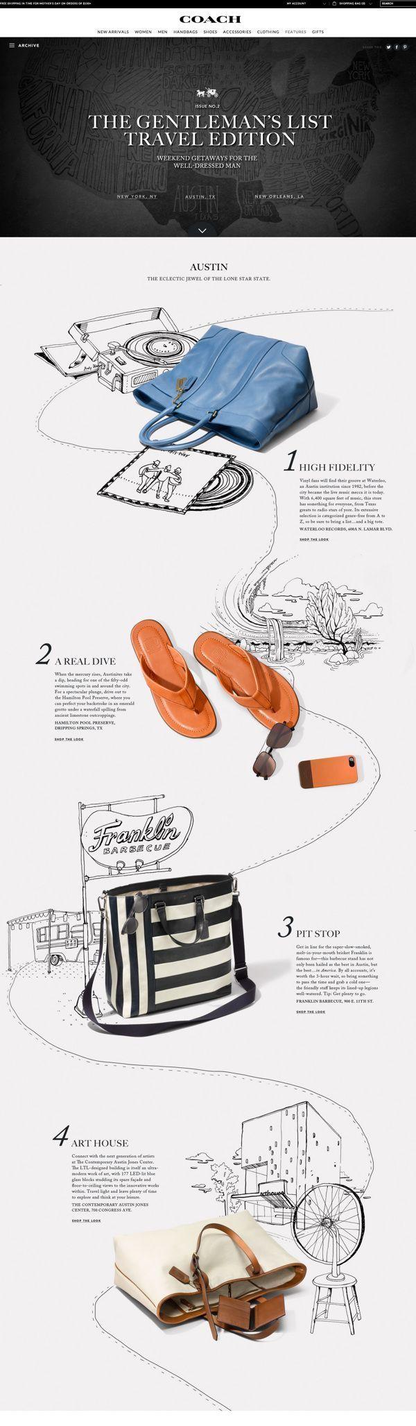 Unique Web Design, Coach Gentlemen's List via @lucasfh #Web #Design #Fashion