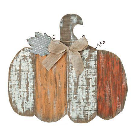 Striped Wood Plank Pumpkin Wall Hanger | Kirklands