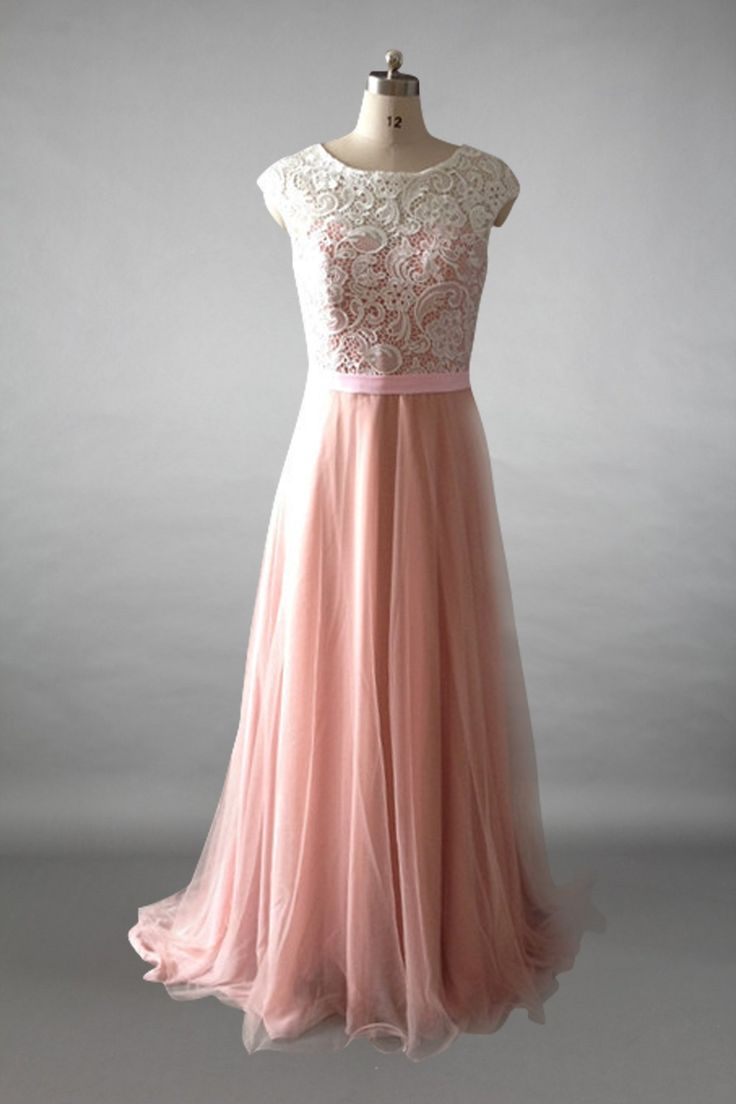 Cap Sleeves Ivory Lace Dusty Rose Tulle Long Bridesmaid Dress With Back Button Dusty Rose