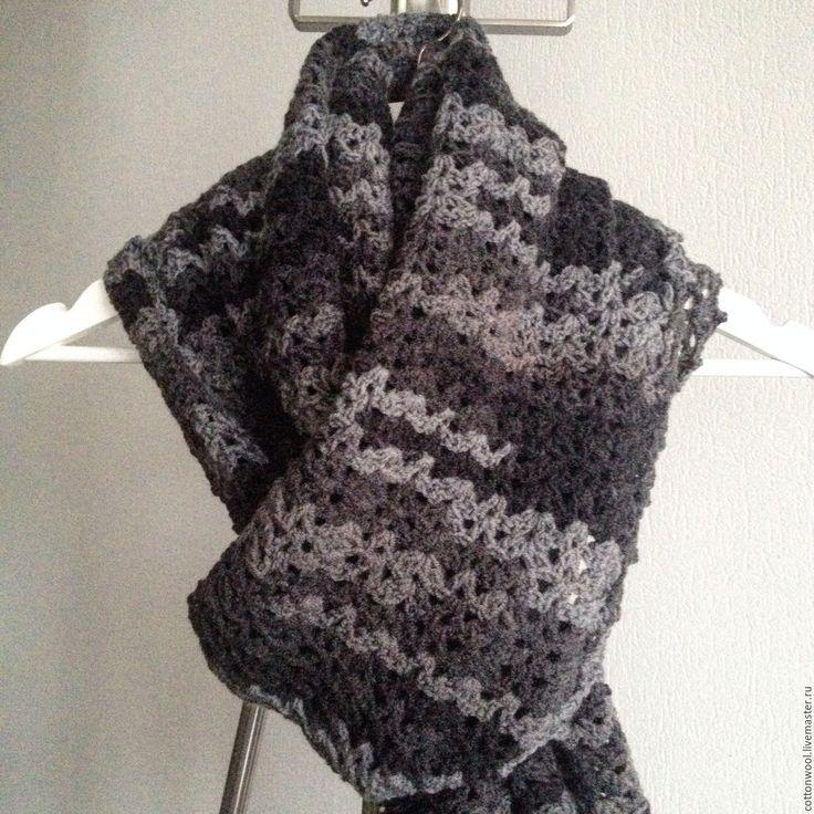 """Купить Ажурный шарф """"Графит"""" - темно-серый, шарф женский, шарф, шарф вязаный, шарфики"""
