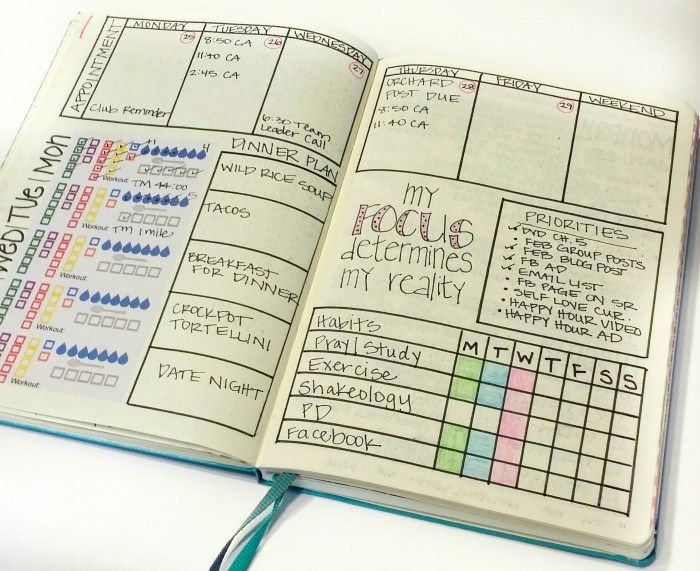 Weekly Bullet Journal layout with 21 Day Fix tracking stickers.