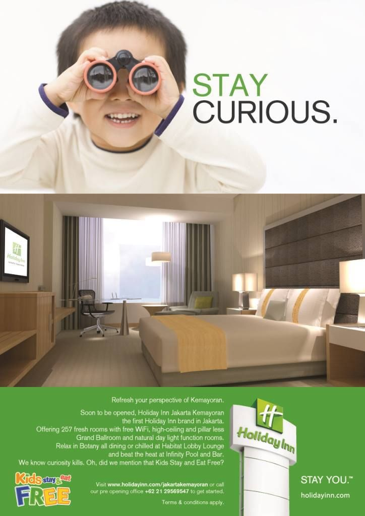 Holiday Inn Jakarta Kemayoran, offering 257 fresh rooms with free WiFi, high-ceiling and pillar less Grand Ballroom and natural day light function rooms. Relax in Botany all dining or chilled at Habitat Lobby Lounge and beat the heat at Infinity Pool and Bar. We know curiosity kills. Oh, did we mention that Kids Stay and Eat Free?