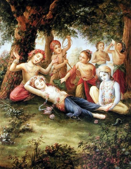 Krishna attending elder brother Balaram....