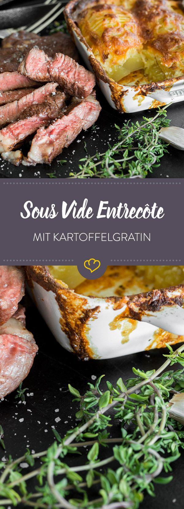 Französisches Kartoffelgratin und ein saftig Sous Vide gegartes Entrecôte sind ein absolutes Traum-Duo und leicht zu Hause zubereitet.