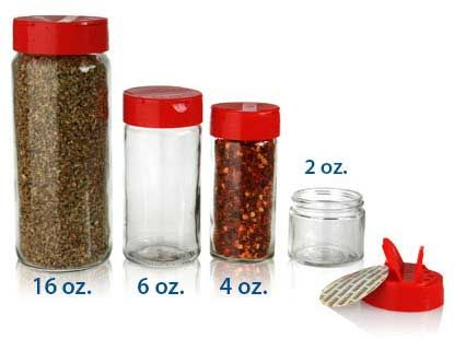 2, 4, 6 & 16 oz SPICE JARS 63/485 in Glass in Clear with dual action lids
