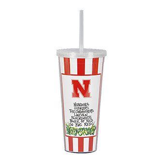 Magnolia Lane University of Nebraska Huskers Travel Mug with Straw