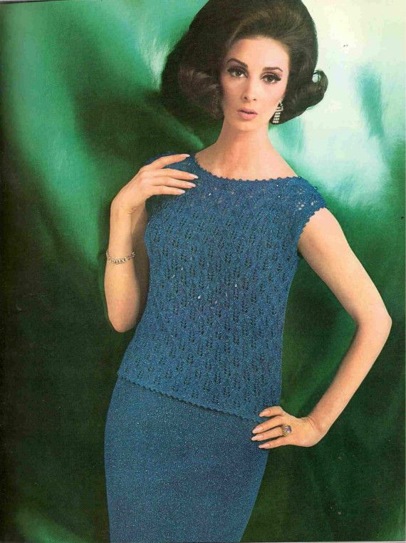 Knit Pattern  Lace Evening Wear Skirt Suit by suerock on Etsy, $3.99
