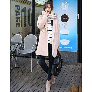 Korean street fashion: Women's Tailor Neck Buckle Long Coat #koreanfashion #tomnrabbit #crgang