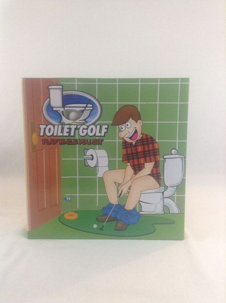 NIB Funny Toilet Bathroom Mini Golf Mat Set Potty Putter Putting Game Novelty  #Unbranded
