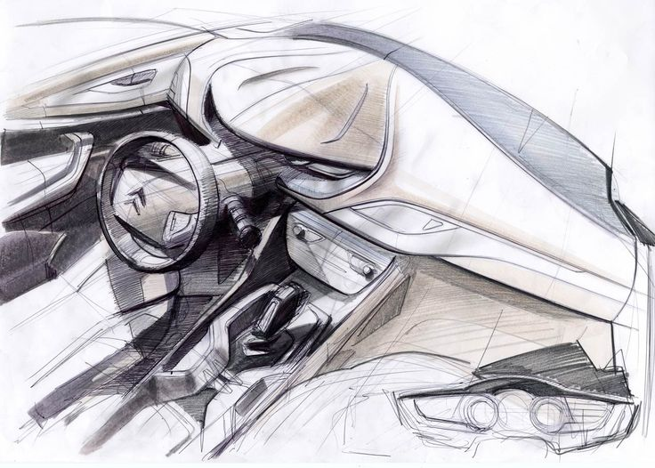 Citroen C5 Interior Design Sketch