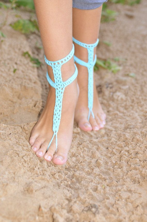 Crochet Turquoise Barefoot Sandals Nude shoes Foot by barmine,