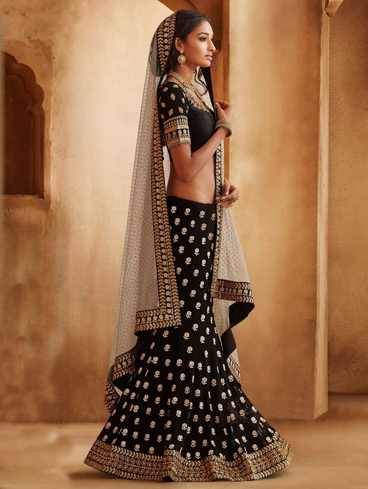 Off White And Black Net Lehenga Saree With Embroidery And Thread Work