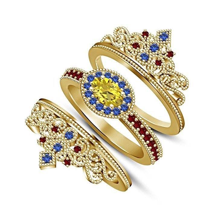 Princess Bridal Disney Belle Crown Rings Crowns Ring Sets Wedding Groom