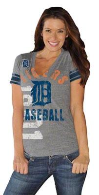 Detroit Tigers Women's Grey Big Play Tri-Blend Deep V-Neck T-Shirt