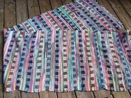 Multicoloured Patterned Vintage Swedish Rag Rug    Product ID: RR1212    Vintage Swedish Rag Rug  Coloured textile and wool blocks with rose design,  divided by fine textile multicoloured stripes  Completed with cotton fringe  Long  Can be cut into two rugs  Size-273 x 67 cm