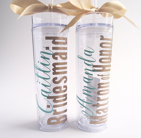 Bridesmaid skinny tumbler with glitter vinyl gift set wedding party gift acrylic tumbler cups