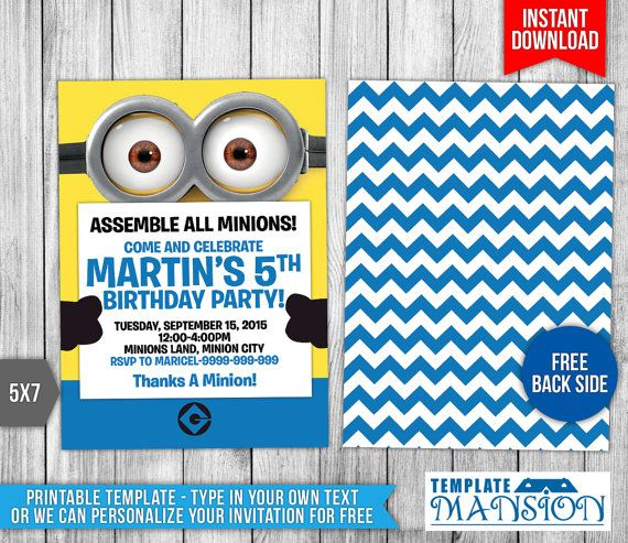 minion invitation minion birthday invitation by
