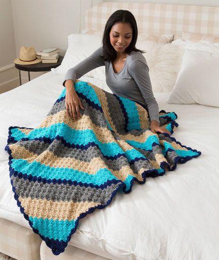 Corner-to-Corner Crochet Throw Free Pattern in Red Heart Yarns