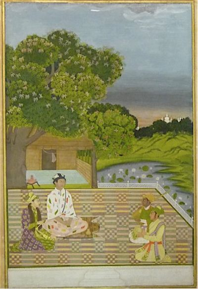 An imaginary meeting between Dara Shikoh and Kamal, the son of Kabir. Mughal, early 18th century (British Library J.19, 1)