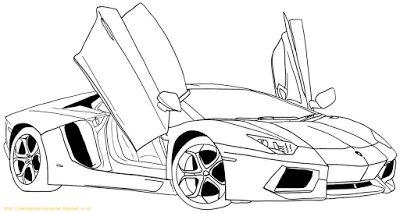 Aneka Gambar Mewarnai - 10 Gambar Mewarnai Mobil Lamborghini Untuk Anak PAUD dan TK.   Gambar beriku...