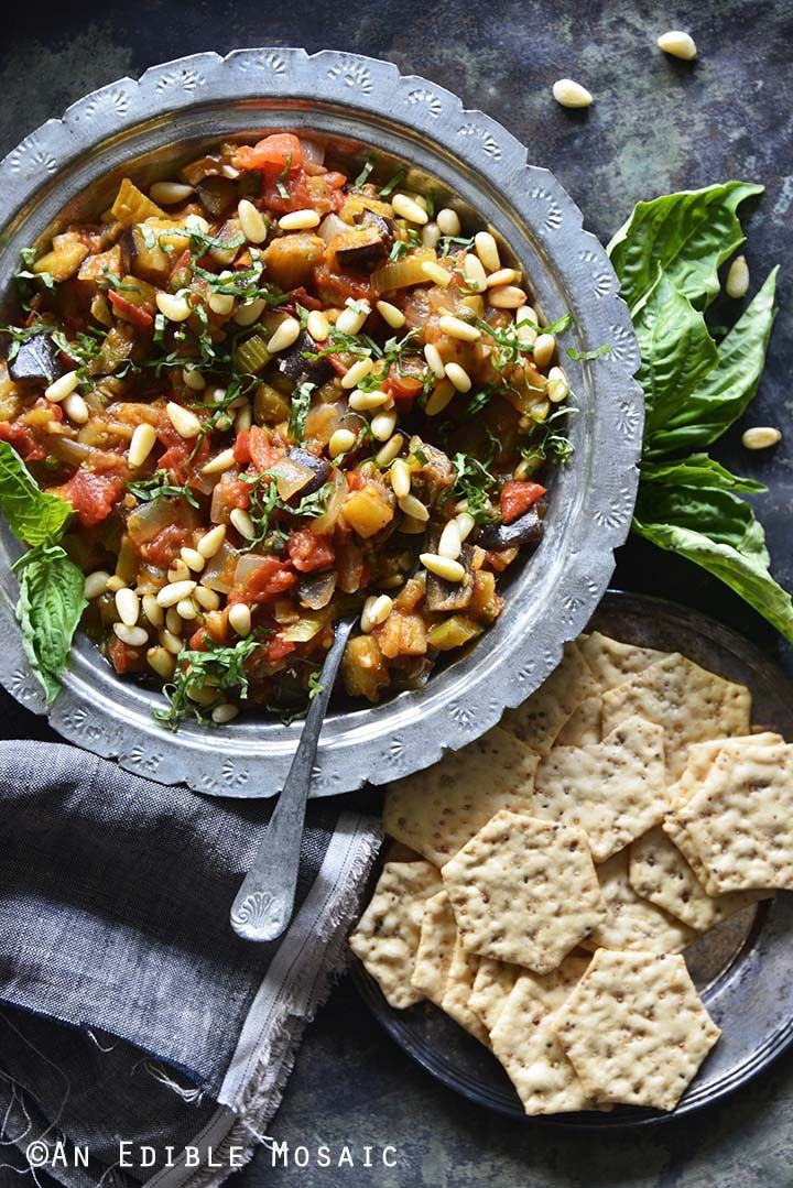 kitchen boss eggplant caponata%0A Caponata  aka Sicilian Eggplant Relish  with Crackers Top View   Saturday  Hangout and Entertaining Ideas   Pinterest   Sicilian  Caponata and  Eggplants