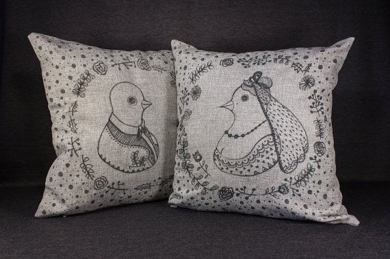 17 by 17 Hand-drawn illustration on pillow Doves in by detcraft