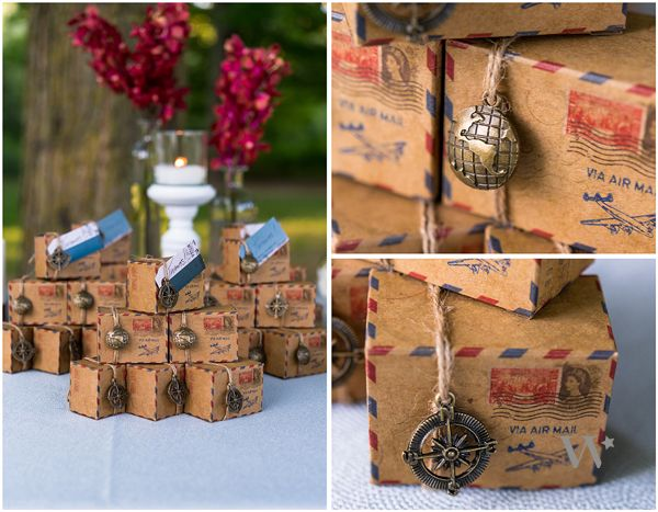 decoration mariage voyaye cadeau boite air dragees mail