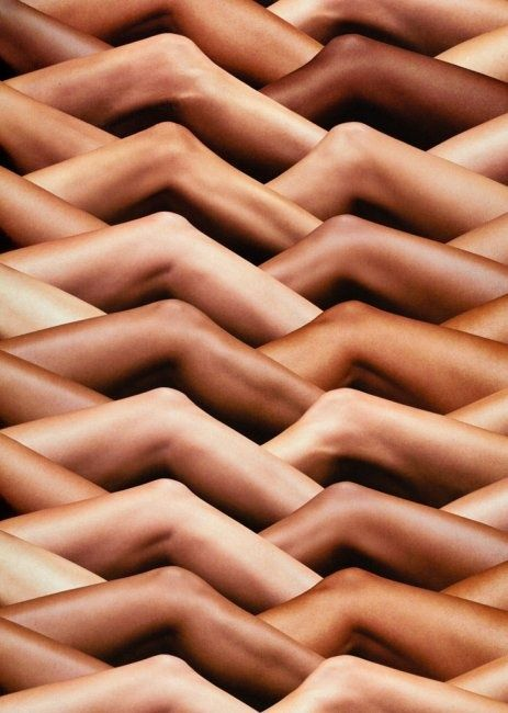 I think that the way that the legs fit into each other and the repetition of the slightly bent knee creates this wavy, interesting pattern almost mirroring a tiled roof or basket weave of some sort.