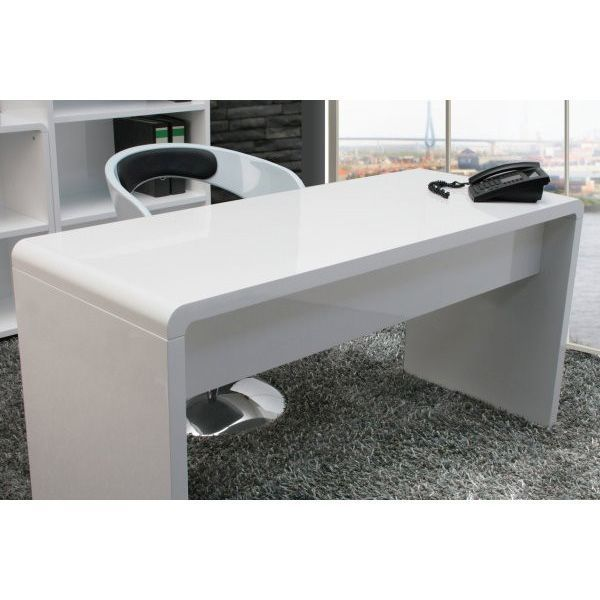 Lumiere Curved Home Office Desk in High Gloss White | Buy Office Desks