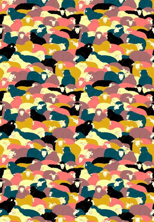 Sheep!: Lovely sheep.  Reminds me of tessellation drawings from geometry class