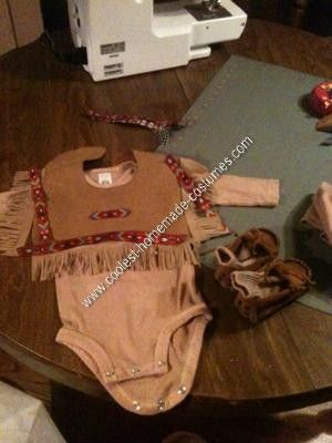 Homemade Infant Indian Costume: For my 5 month old's first Halloween I thought a little homemade infant Indian costume would be great. I started with dyeing a long sleeved one-z, cotton