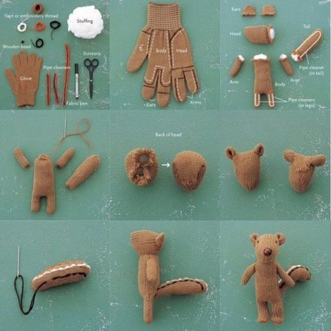 how to make a squirrel from a glove