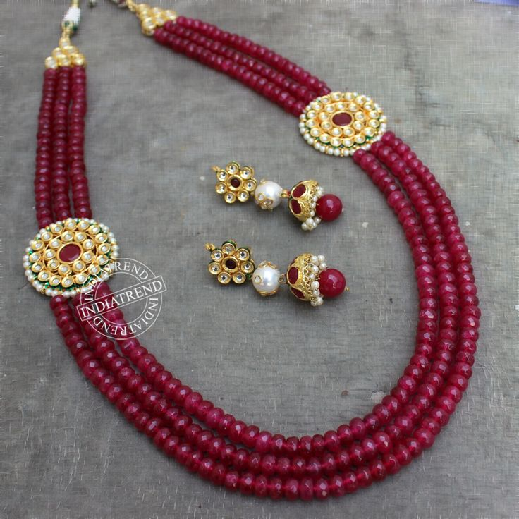 The AAZMIN NECKLACE + EARRING by Indiatrend. Shop Now at WWW.INDIATRENDSHOP.COM