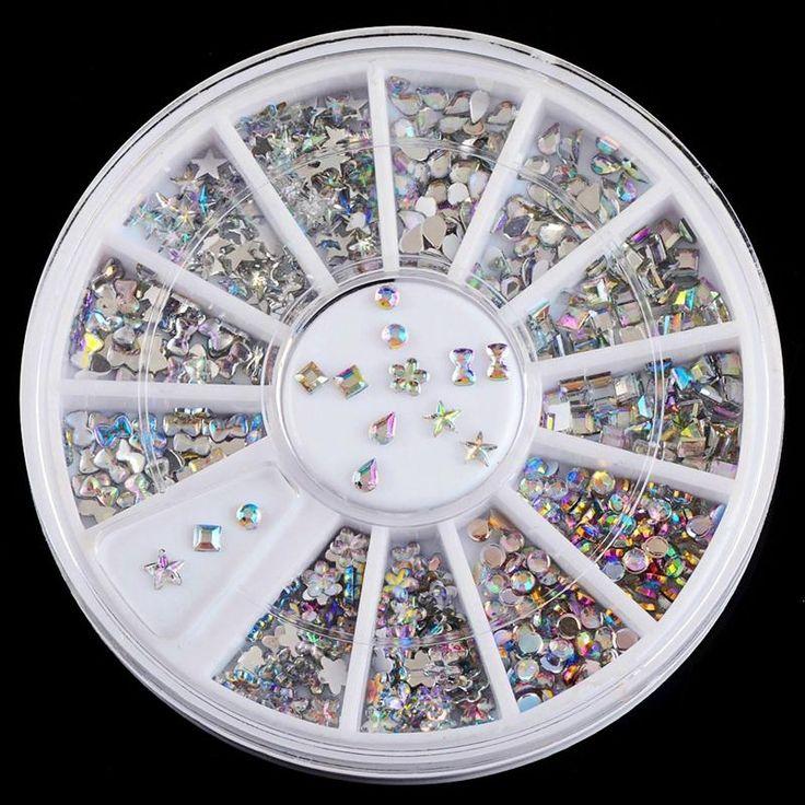 6 Tasarım Parlak AB Akrilik Yay Su Damlacıkları Nail Art Dekorasyon İpuçları 3D Takılar Çivi DIY Glitter Tekerlek Manikür ZP025