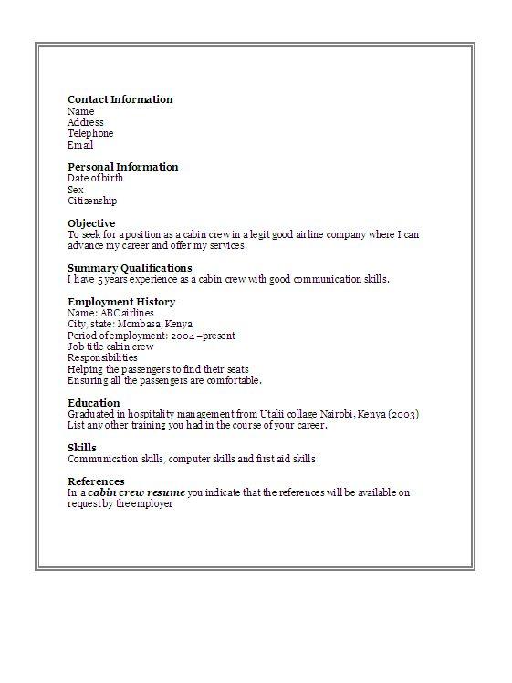 Resume Format For Cabin Crew Resume Template Also Flight Attendant