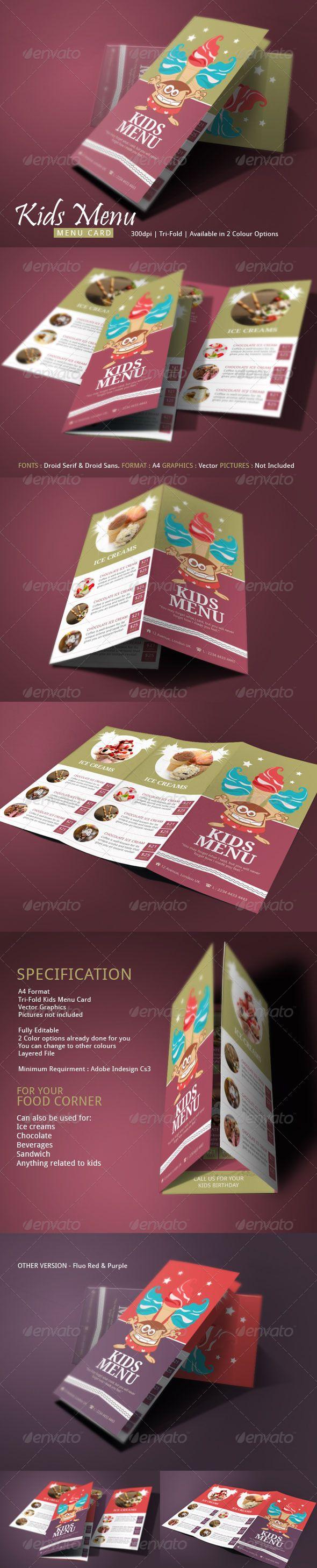 Kids Menu Template #design #speisekarte Download: http://graphicriver.net/item/kids-menu/7637566?ref=ksioks
