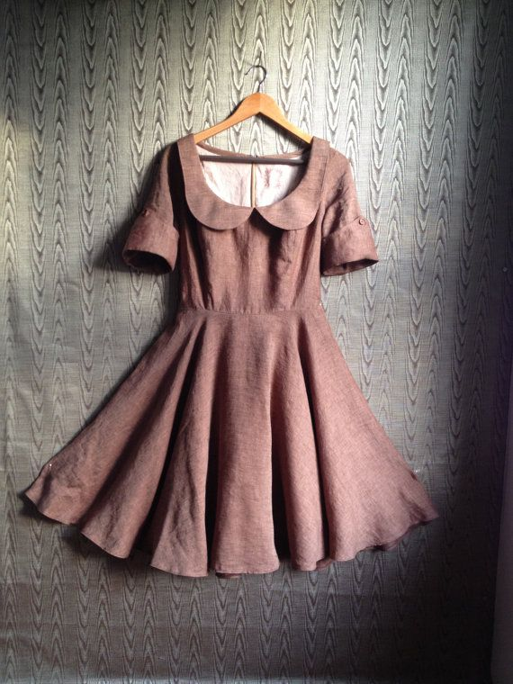 autumnal dress with peter pan collar brown linen by THREADBEAT