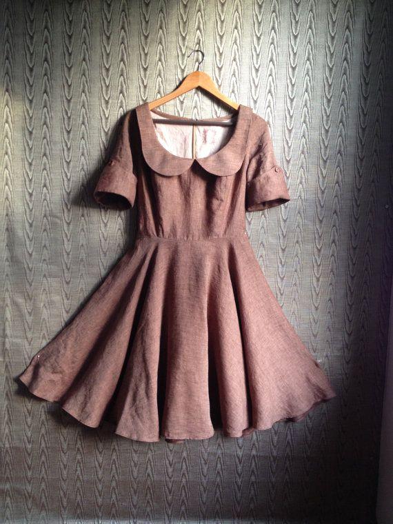 ropa otoñal vestido marrón de cuello Peter pan por THREADBEAT                                                                                                                                                                                 Más
