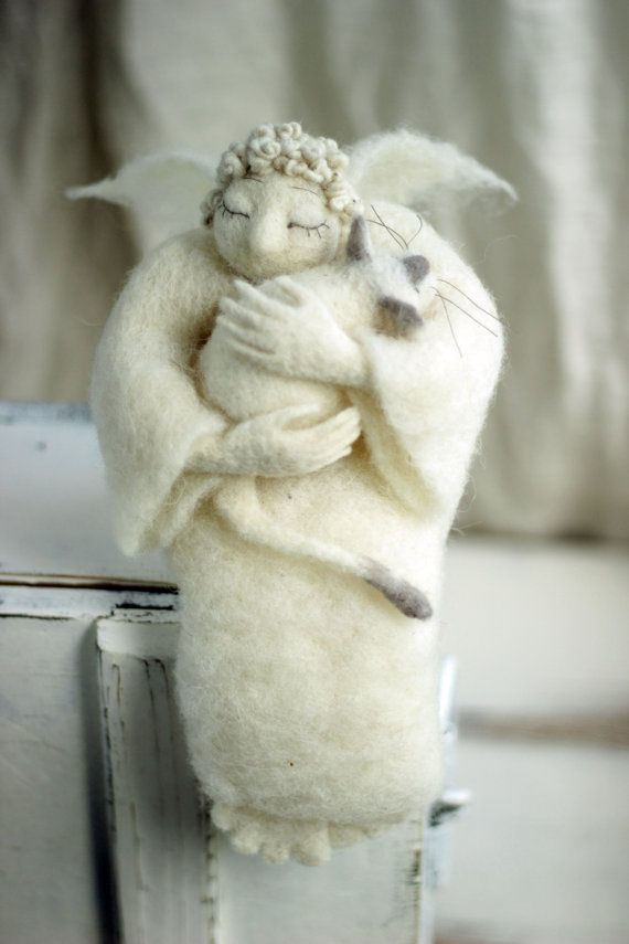Dreamy Angel with A White Cat Needle Felted by FeltArtByMariana, $200.00
