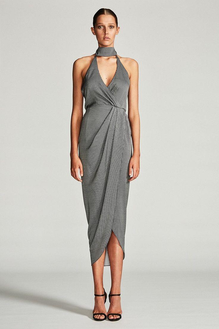 Shona Joy - Mirage Stand Collar Draped Maxi Dress - Black/White