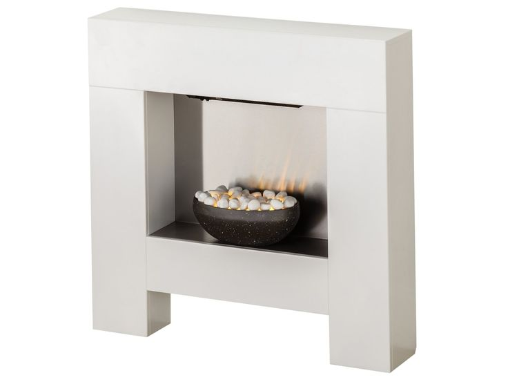 Adam Cubist Fireplace Suite in White with Electric Fire, 36 Inch | Fireplace World