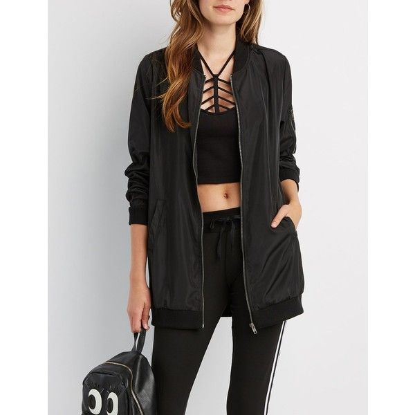 Charlotte Russe Longline Bomber Jacket ($37) ❤ liked on Polyvore featuring outerwear, jackets, black, longline jacket, shell jacket, light weight jacket, lightweight jackets and utility jacket