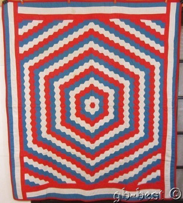 Americana RED White BLUE Vintage Honeycomb Quilt WALL ART