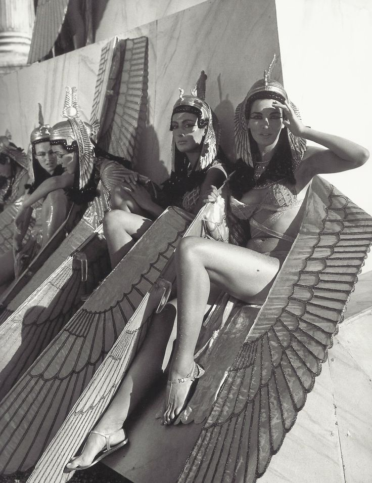 Female extras relaxing on set of the most expensive movie ever made (at the time) - Cleopatra , 1963