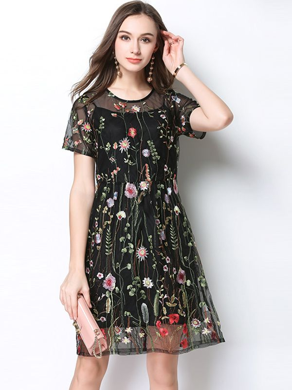 Black Two-piece Floral Embroidered Mini Dress