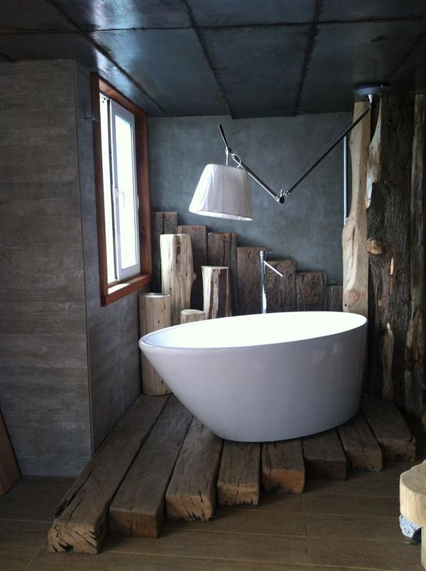 Love the wood flooring and walls, but not sure I want an electrical appliance hanging over the bathtub!