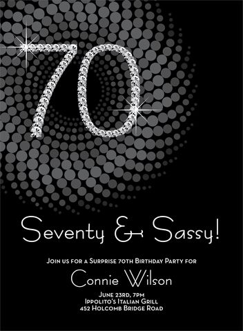 Diamond Numbers 70th Milestone Birthday Invitations by Noteworthy Collections - Invitation Box