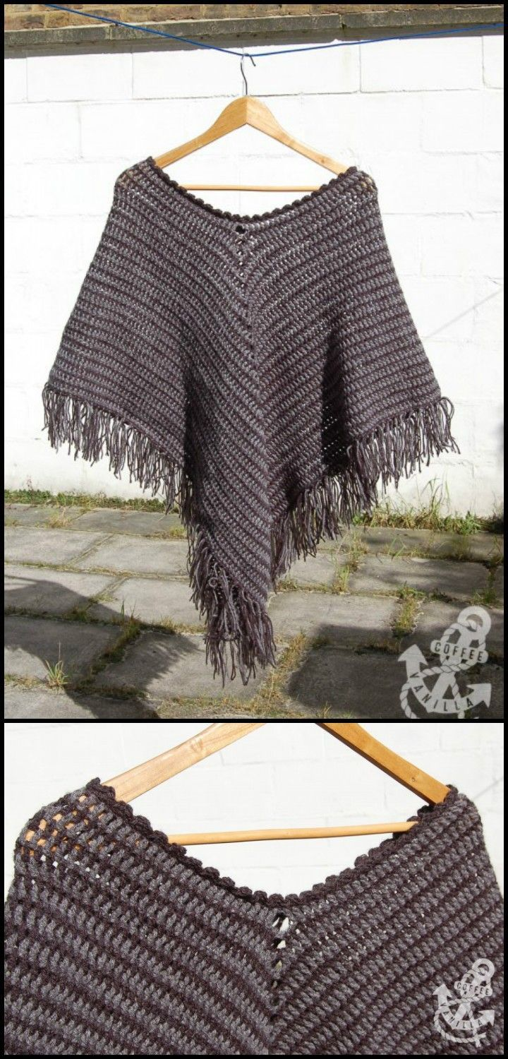 117 best Poncho images on Pinterest | Knitting stitches, Knitting ...